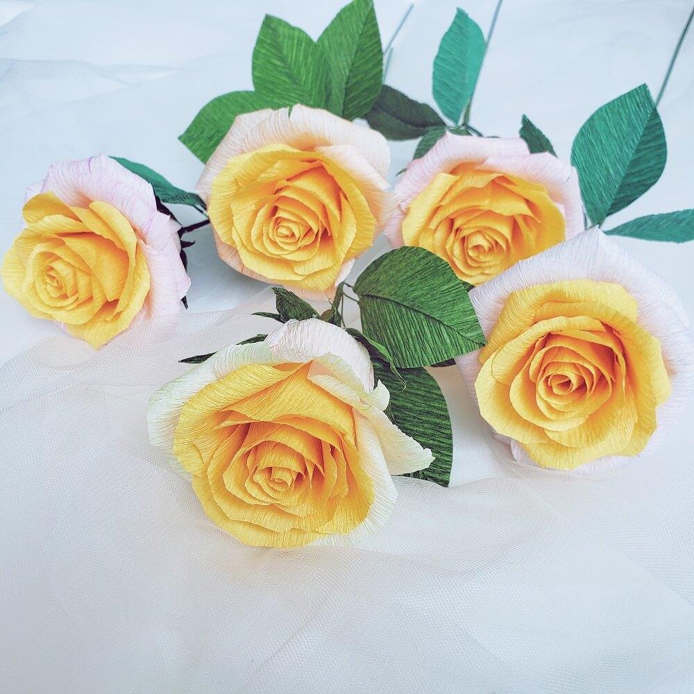 Hướng dẫn cách làm hoa hồng giấy nhún